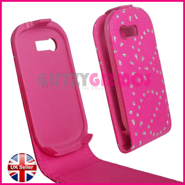 Samsung corby pop c3510 pink leather flip case cover